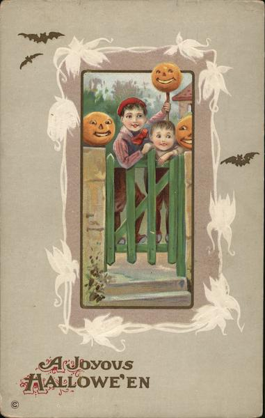 A Joyous Halloween Children at Gate