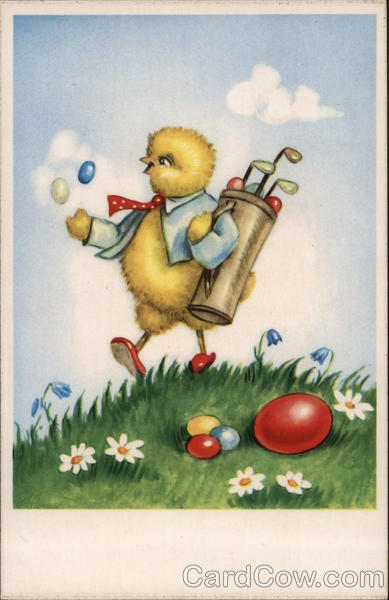 Chick Playing Golf with Easter Eggs With Chicks