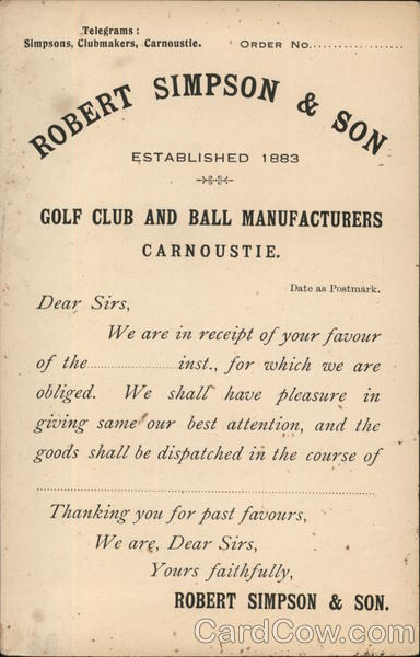 Receipt from Robert Simpson & Son, Golf Club and Ball Manufacturers