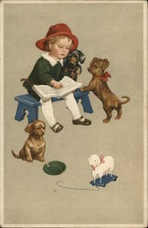 Young Child with Puppies
