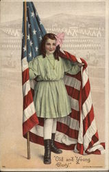 A Young Girl Wrapped in an American Flag