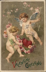 Two Cherubs With Heart in Basket