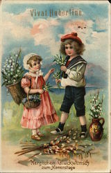 Two Children Picking Lily of the Valley Flowers