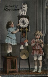 Two Children and Clock at Midnight