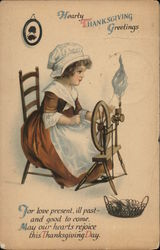 Woman Sitting at a Spinning Wheel - Hearty Thanksgiving Greetings