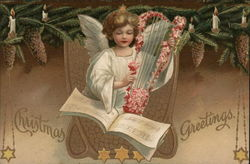Angel Playing a Harp, Christmas Greetings