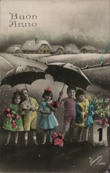 Italian Children Holding Umbrellas, Flowers Near Town in the Snow
