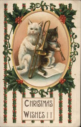 Two Cats With Musical Instruments