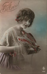 April Fool Woman Holding Two Fish Tinted with Red