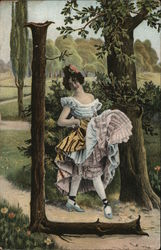 "Letter ""L"" Woman Holding Frilly Skirt Up in Front, Walking in Woods"