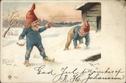Two Gnomes Having a Snowball Fight