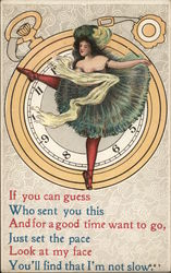 Dancer Atop Pocket Watch, Legs are Clock Hands