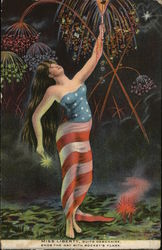 Miss Liberty with Fireworks