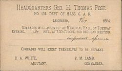 GAR Correspondence Card from Headquarters Geo. H. Thomas Post