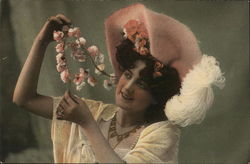 Woman Holding Strand of Pink Flowers, Hat with Large Plume