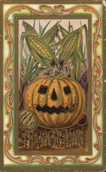 Jack O'Lantern and Ears of Corn