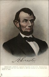 Abraham Lincoln, 16th. President of the US. Elected twice. Inaugurated for the first time 3/4/1861 Postcard