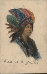 Indian Maiden Native American Woman in Colorful Headdress