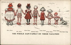 The Whole Dam Family on Their Vacation Postcard