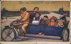Family Riding in Giant Sidecar of Motorcycle Postcard