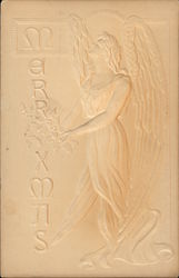 Embossed Angel Holding a Bouquet of Holly
