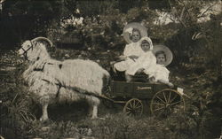 Three Little Girls for a Studebaker Jr. Wagon w/Goat