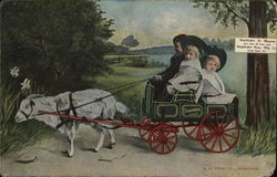 Children in Goat-Drawn Studebaker Cart