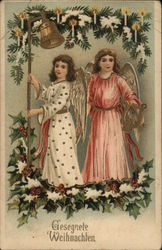 Two Angels With Holly and Fir