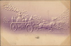 Horse Drawn Fire Engine Postcard