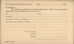 Sherman Williams Correspondence Card