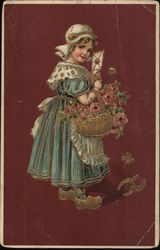 Dutch Girl Carrying Basket of Roses Postcard
