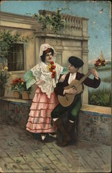 Man Playing Music on Guitar to Woman