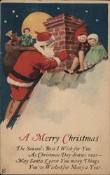 Two children meeting Santa on the roof.
