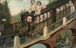Children Riding on Train Postcard