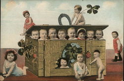 Eight Babies in a Box, Seven Babies Around the Box Postcard