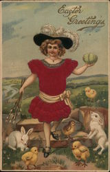 Girl holding Easter egg, with white bunnies and yellow chicks around her feet.