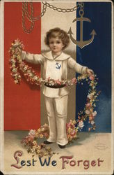 Boy Holding Flower Strand Near Chain and Anchor