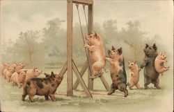 Pigs Playing on Swing