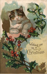 Cat and Holly Branch Postcard