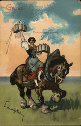 German Maid Serving Beer on Draft Horse