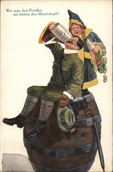 Prussian Man Drinking Beer on Barrell