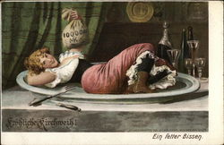 Girl Lying on Platter on Table