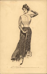 Drawing of Woman and Golf Club
