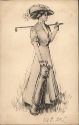Sketch of Woman with Golf Bag and Clubs