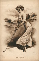 Woman on Golf Course Holding Club