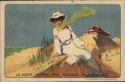 Woman on Dunes on Golf Course, Belgique