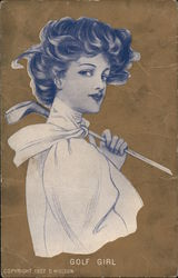Woman with a golf club held over her shoulder.