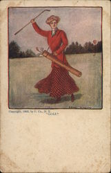 Woman in Red playing Golf