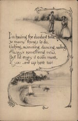 Boy and Girl Golfing, Sailboat in Water, Verse in Between