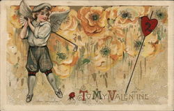 Cupid playing golf